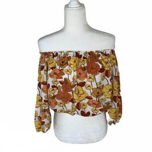 Brown yellow and orange crop top